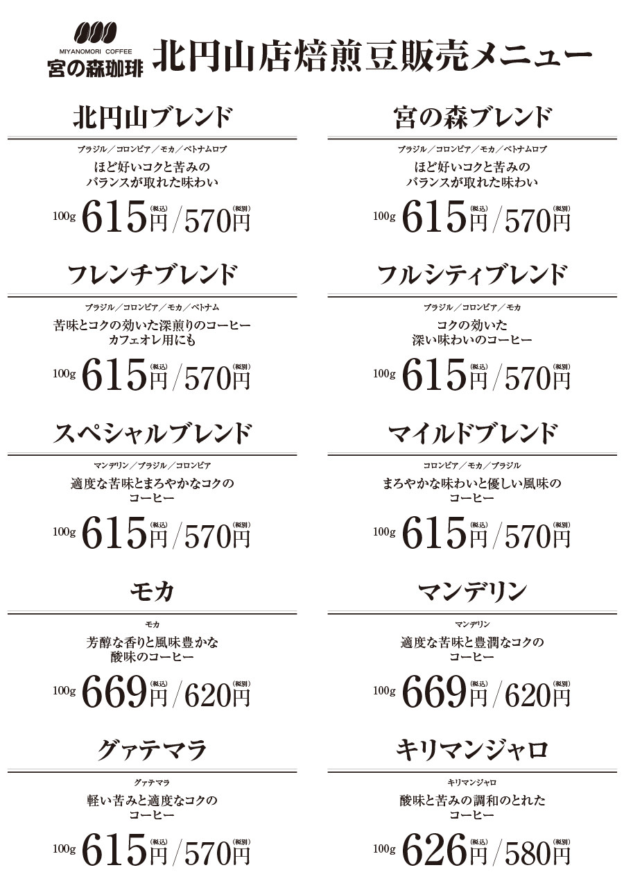 北円山店焙煎豆販売